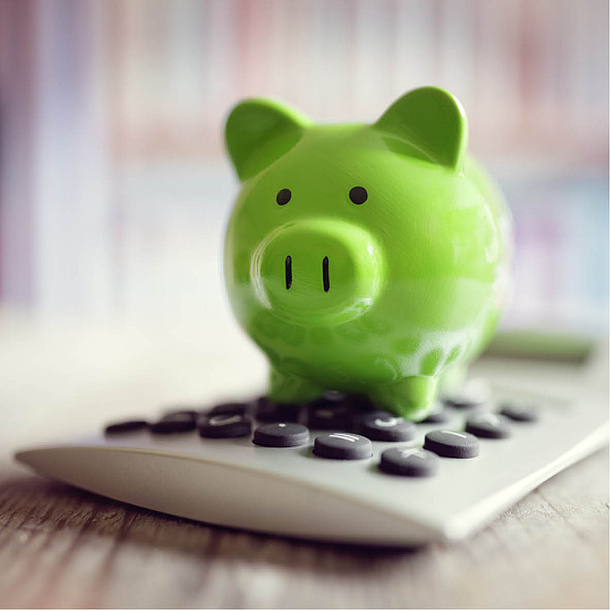Green piggy bank standing on a calculator. Photo source: Brian Jackson - fotolia.com
