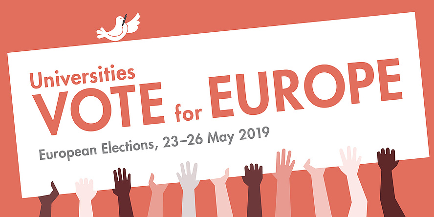 "Graphic depiction of a white poster with the inscription ""Universities vote for Europe"", held by hands of different skin colours. A dove of peace perches on the poster."