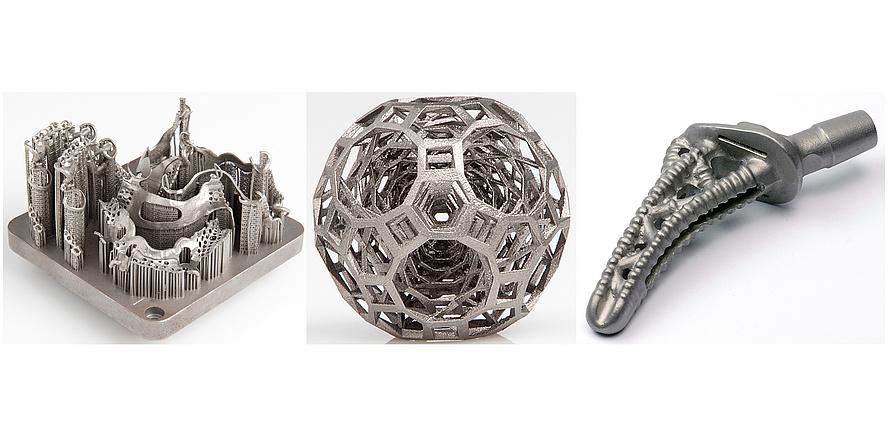 drei futuristische Metallprodukte