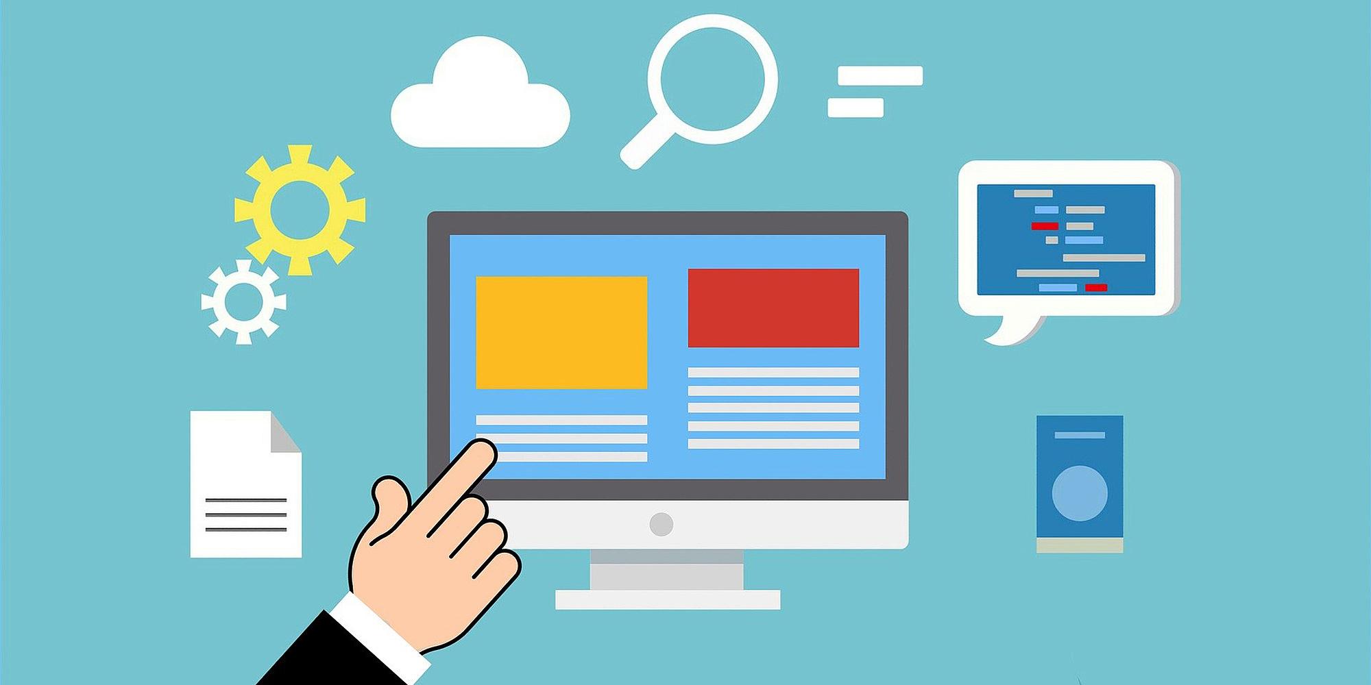 Grafik mit Computerbildschirm, einer Hand und weiteren Icons