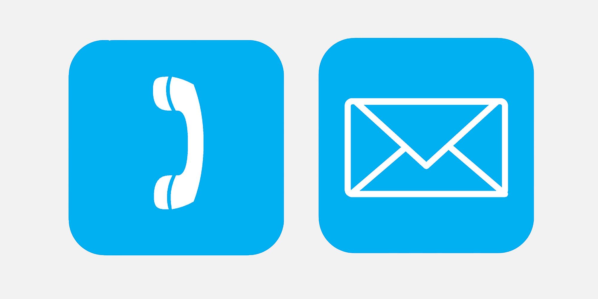 Icons Telefon und Mail