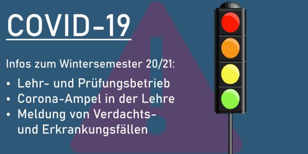 Text im Bild: COVID-19. Infos zum Wintersemester 20/21.