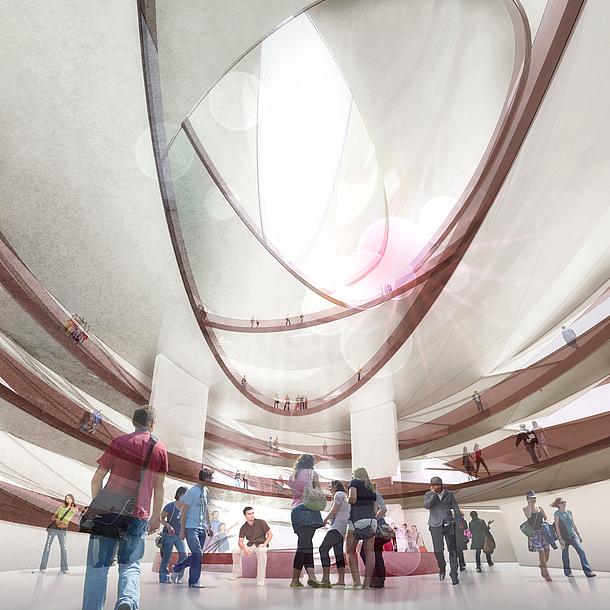 Menschengruppe in einem modernen Begegnungsraum. Bildquelle: Christian Freisssling