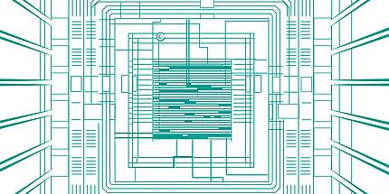 Eine schematische Darstellung eines Mikrochips.