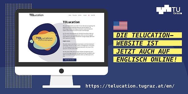 Computer screen and text in German: Die TELucation Website ist jetzt auch auf Englisch online.