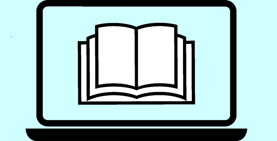 stilisierter Laptop mit Büchern am Bildschirm