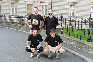 The running team of the institute at the Graz Marathon 2010. Fabrice Giuliani (back, left), Andreas Lang (back, right), Thomas Leitgeb (front, left), Christian Faustmann (front, right).