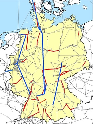 220/380-kV-Netz von Deutschland. Bestand samt EnLAG 2009 und NOVA-Netzprojekte.