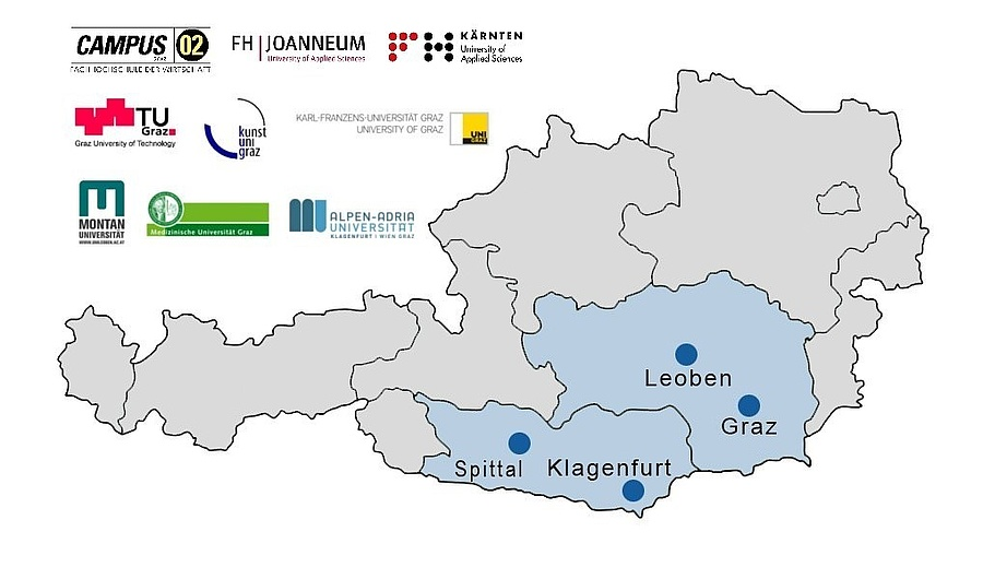 Wissenstransferzentren Österreichs, Source: WTZ Süd und Paul Anzinger, Universität Salzburg