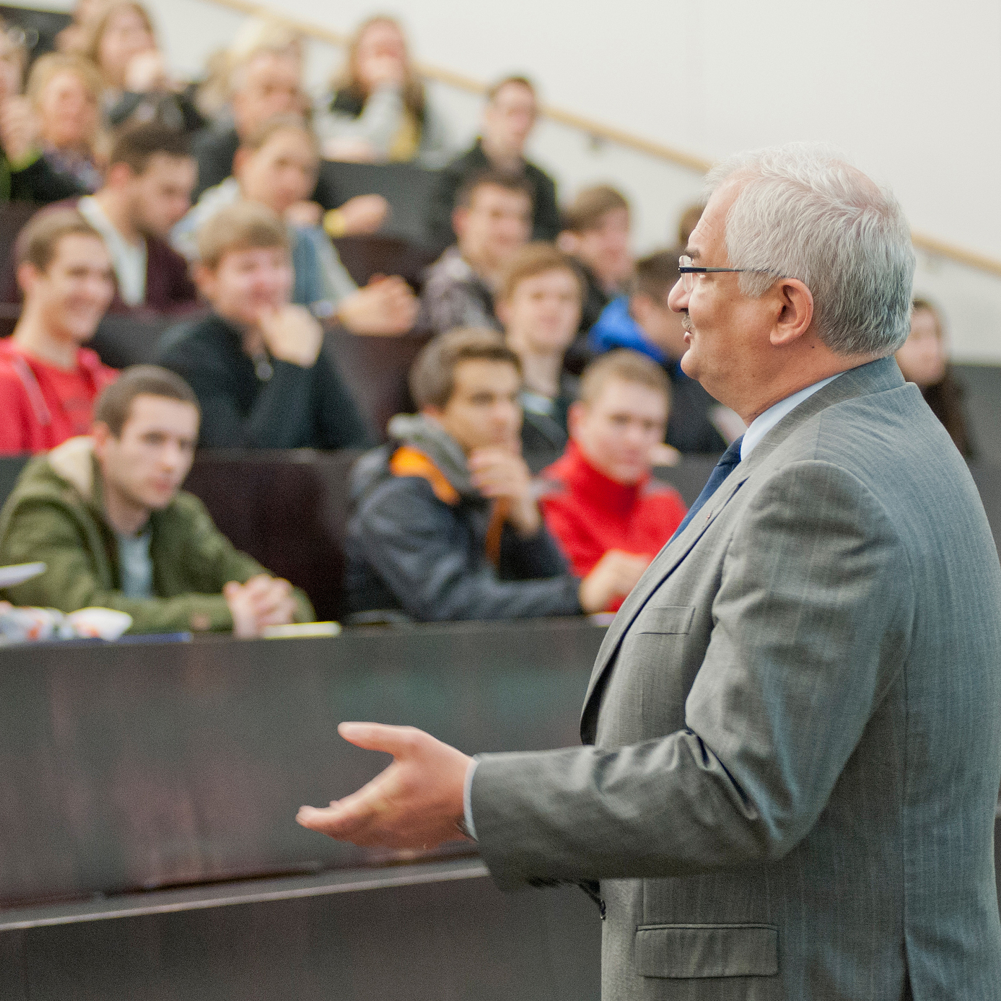 Professor in a lecture hall