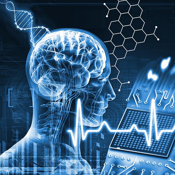 Human and Biotechnology, menschlicher Kopf, DNA-Strang, Frequenz, Wabenstruktuer. Bildquelle: Fotolia.com