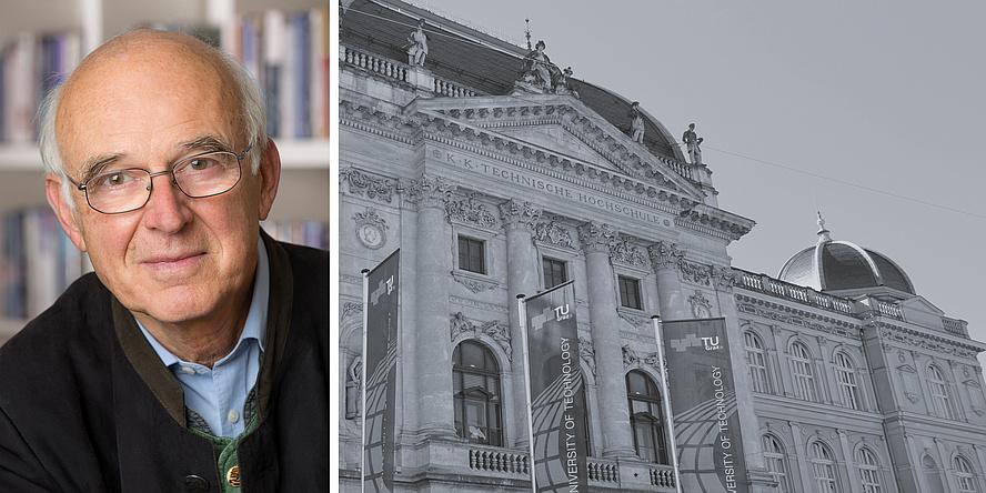 Portrait eines Mannes auf der linken Seite und Außenansicht der Alten Technik auf der rechten Seite