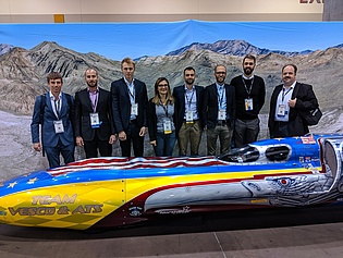 8 members of the institute attended the ASME Turbo Expo Conference in Phoenix, USA, the world's largest conference on gas turbines and turbomachinery, and presented 7 papers.  The car is the Vesco Turbinator II, the first car exceeding 500 mph