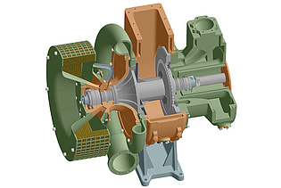 Design example of large engine turbocharger taken from this year's design practical at the Institute for Thermal Turbomachinery and Machine Dynamics (Lerch W., Baumhakl Ch., Moser Ch.)