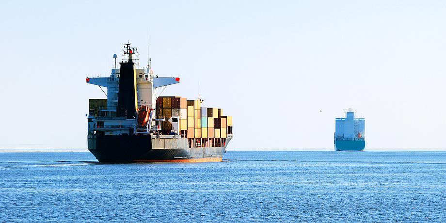Two ships at sea.