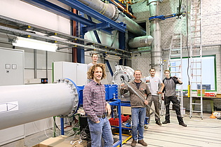 The Institute team, who installed the new wind tunnel for turbine flow investigations, which went into operation in June 2020