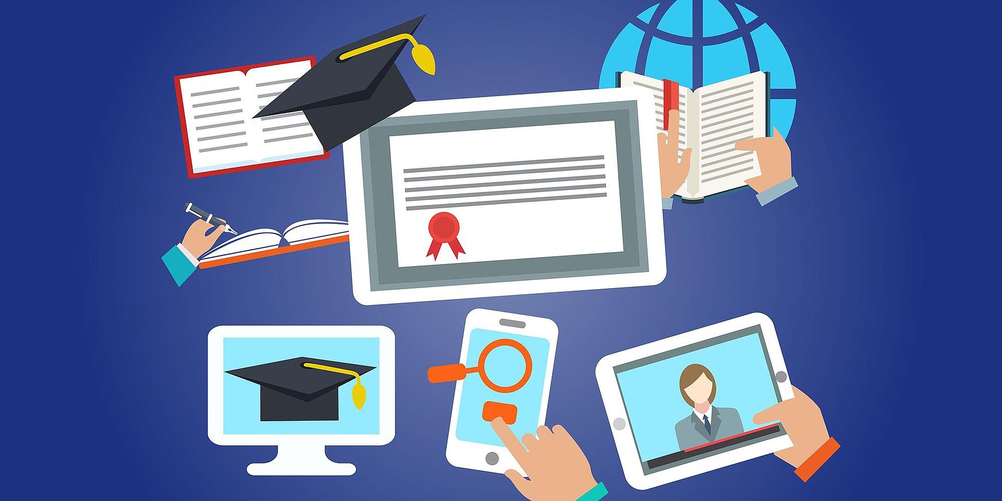 Grafik mit unterschiedlichen Elementen, darunter ein Zertifikat, ein Laptop und ein Doktorhut