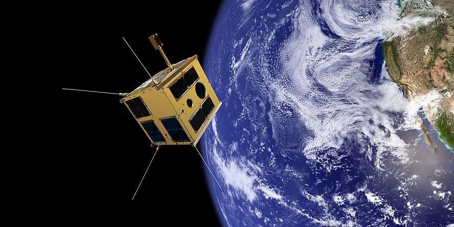 Eine Fotomontage des Nanosatelliten TUGSAT-1 im Orbit mit Blick auf die Erde.