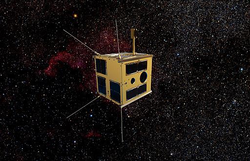 Fotomontage des Nanosatelliten TUGSAT-1 im All vor schwarzem Hintergrund mit leuchtenden Sternen.
