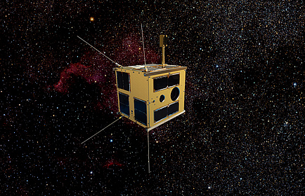 Photomontage of the nanosatellite TUGSAT-1 in space surroundet by bright stars.