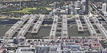 Architektonischer Entwurf von acht mit Häusern bebauten Brücken, die eine Stadtinsel überbauen und die Flussufer verbinden.