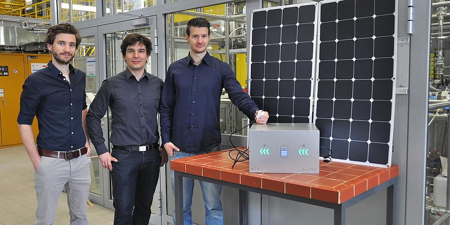 Christoph Grimmer, Stephan Weinberger und Florian Gebetsroither am Institut für Chemische Verfahrenstechnik und Umwelttechnik der TU Graz.