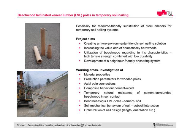 beechwood laminated veneer lumber (LVL) poles in temporary soil nailing