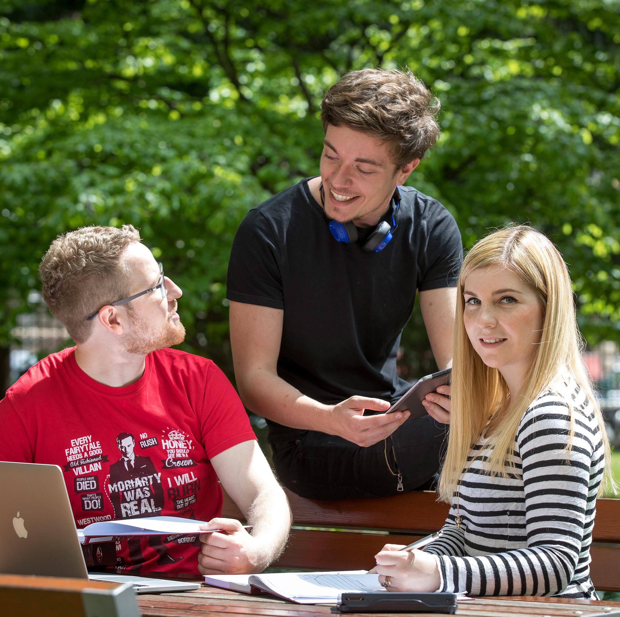 Drei Studierende lernen im Freien.