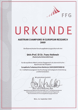 Prof. Heitmeir was honoured by the Austrian Research Promotion Agency for his excellent work as coordinator and host of the 8th European Turbomachinery Conference.