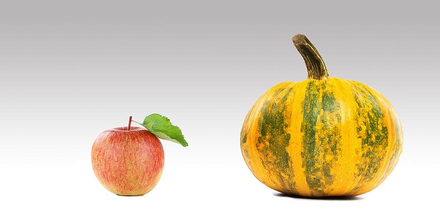 ein Apfle und ein Ölkürbis