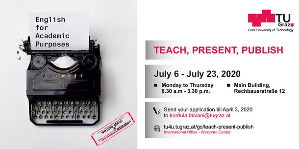 Auf einem Blatt Papier in einer Schreibmaschine steht: English for Academic Purposes