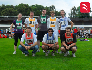 Running team of the institute at the 'Kleeblatt-Lauf' 2011. Front (from left to right): Giuliani, Leitgeb, Muellauer. Back (from left to right): Santner, Koeberl, Hennig, Faustmann, Schlegl