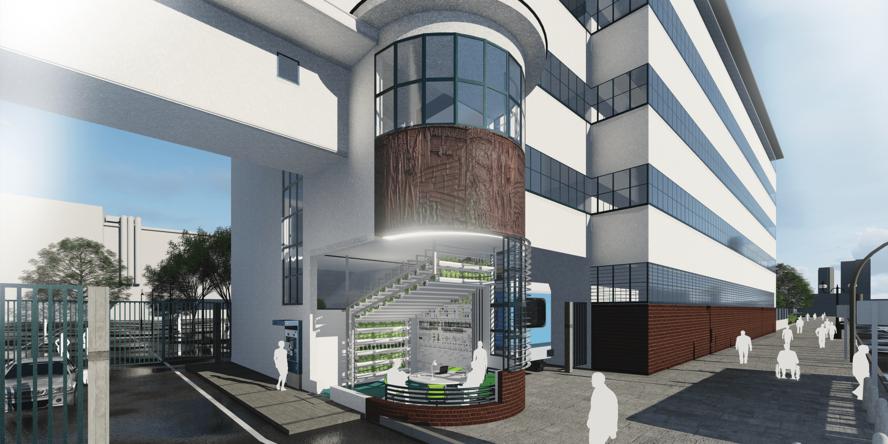 Ein simuliertes Gebäude. Zentral ist ein Raum, in dem eine Maschine steht, auf der mehrere Pflanzen zu sehen sind.
