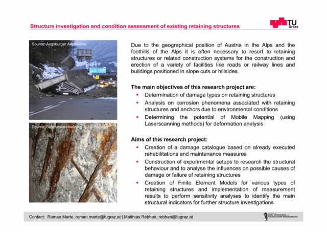 structure investigation and condition assessment of existing retaining structures