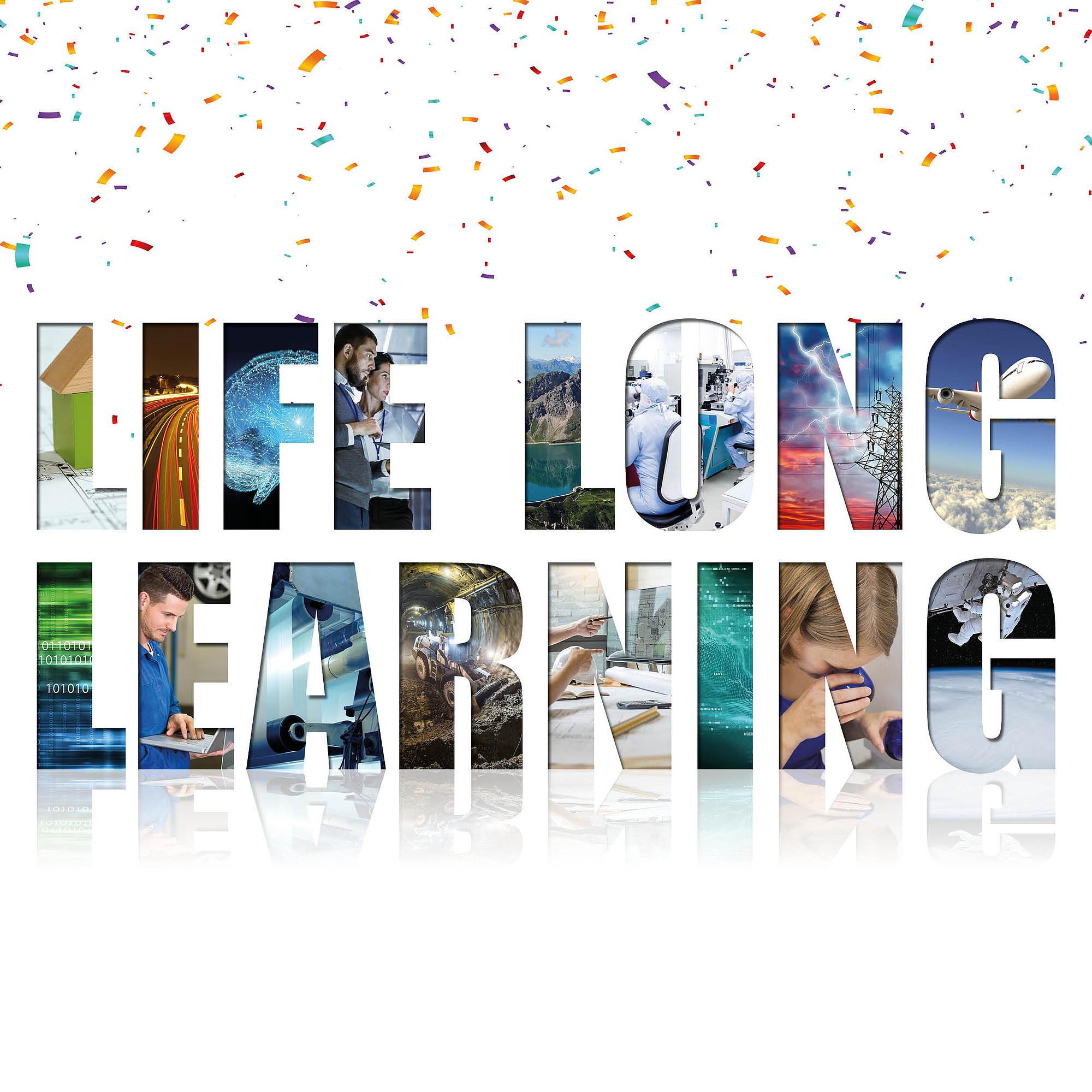 Schriftzug Life Long Learning mit bunten Bildern