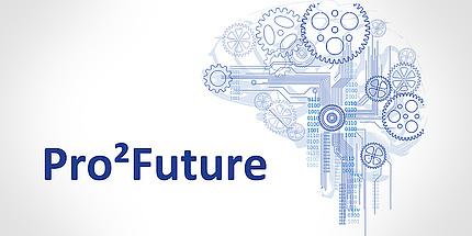 Das Logo von Pro2Future: In blauer Schrift ist der Schriftzug Pro2Future zu sehen. Daneben ein schematisches Hirn in ebenfalls blauen Linien.
