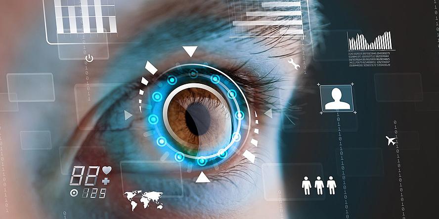 Ein stilisiertes Auge blickt in die digitale Zukunft.
