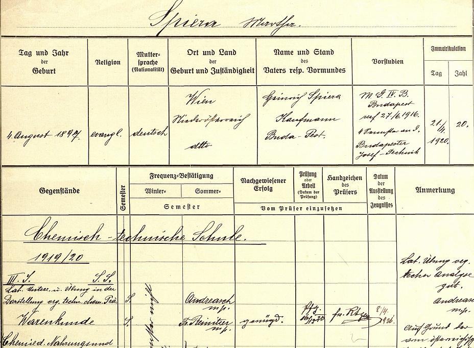 Handgeschriebene Urkunde übertitelt mit Spiera Martha. Das Matrikel enthält eine Fülle von Informationen. Ein unterstrichener Untertitel lautet Chemisch-technische Schule 1919/20.