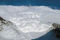 Abgehende Lawine im Vallee de la Sionne