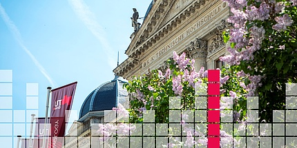 A section of the upper area of a historic university building with the top end of three red flags to the left in the image and a graphic image superimposed upon it showing light and red square boxes.