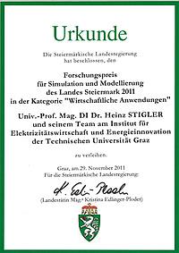 Urkunde Forschungspreis für Simulation und Modellierung des Landes Steiermark 2011.