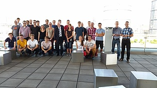 Group picture with colleagues and students taken during our latest excursion to voestalpine in Linz.