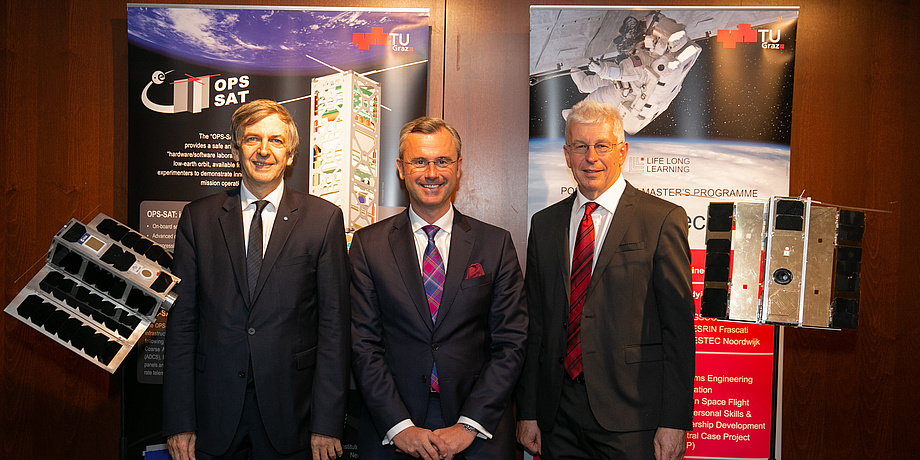 Three men in suits stand in front of two roll-ups of the TU Graz and are flanked by two satellite models.
