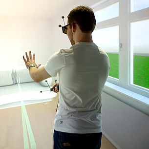 Student wearing a VR headset