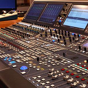 Mixing desk of the sound studio at TU Graz, photo source: Ederle
