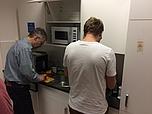 team members cooking
