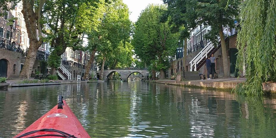 Schiffsbug mit Blick auf einen sommerlichen Kanal, gesäumt von Häusern und Bäumen