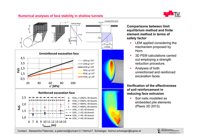 Numerical analyses of face stability in shallow tunnels