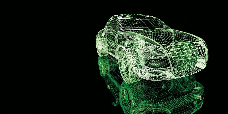 Ein grünes Schemata von einem Auto.