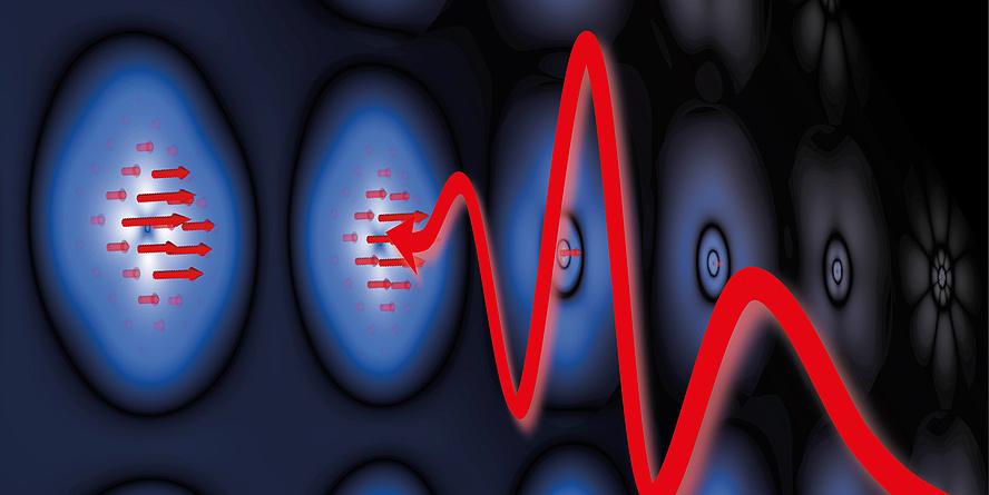 Leuchtende Elemente, aus denen rote Pfeile nach draußen dringen und von links nach rechts fließt ein großer roter Pfeil